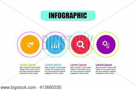 Infographic Design Template And Marketing Icons With 4 Options. Concept Circle For Thin Line Infogra