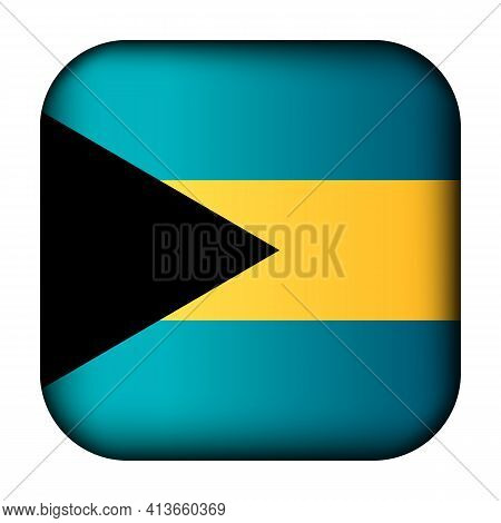 Glass Light Ball With Flag Of Bahamas. Squared Template Icon. National Symbol. Glossy Realistic Cube