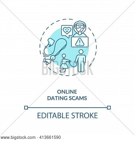 Online Dating Scams Concept Icon. Scammers On Dating Website And Blackmail Ideas Thin Line Illustrat