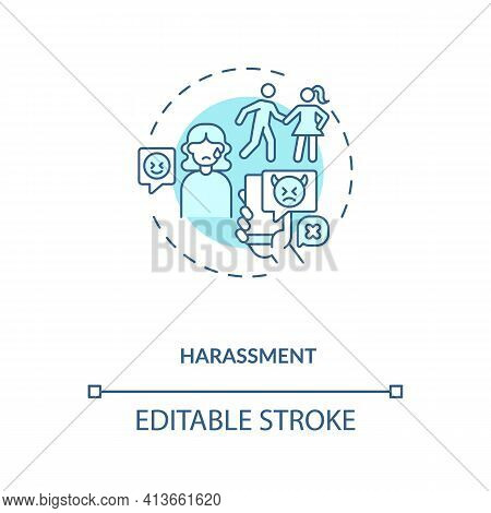 Harassments On Daing Website Concept Icon. Aggression In Internet App Ideas Thin Line Illustration.