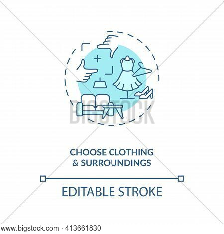 Choose Clothing, Surroundings Concept Icon. Successfull Video Call Date Tips Idea Thin Line Illustra