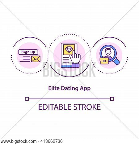 Elite Dating App Concept Icon. Special Application With More Functions To Use To Find Partner. Love