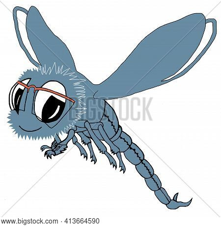 Dragonfly, Blue Dragonfly, Cartoon Insect With Orange Glasses, Funny Insect With Wings. Print On Clo