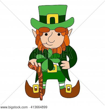 Hand Drawn Leprechaun In Green Clothes With Four Leaf Clover And Shillelagh Stock Vector Illustratio