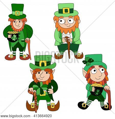 Four Cartoon Leprechauns Set Stock Vector Illustration. Funny Colorful Hand Drawn Irish Folklore Her
