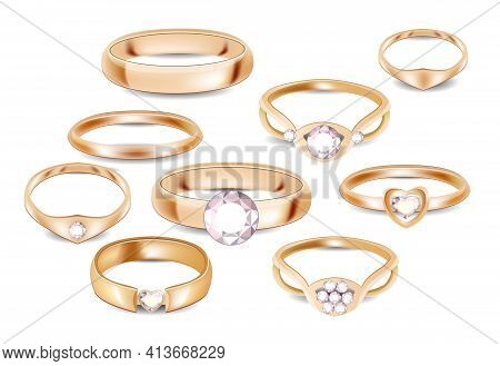 Set With Different Platinum And Gold Rings With Diamonds Isolated On White Background. Template For