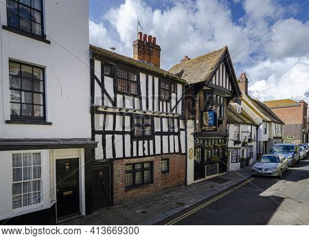May 2015, Hastings, East Sussex, Uk -  View Of The Cinque Ports Arms Public House In The Old Town, H