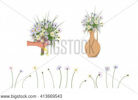 Hands Are Holding Daisies. Delivery Of A Bouquet And Flowers In A Vase Or Jug. Spring And Summer Pla