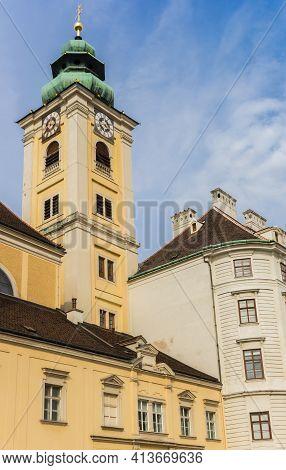 Tower Of The Benediktushaus Church In Vienna, Austria
