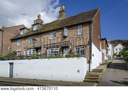 May 2015, Hastings, East Sussex, Uk -  Ancient Cottages In The Old Town In Hastings, Sussex, Uk In T