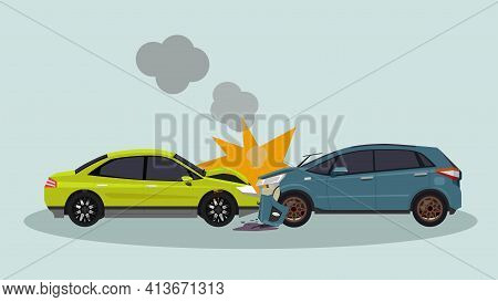 Two Passenger Cars Crashes Into A Fatal Collision. The Front Was Severely Damaged, Unable To Drive F