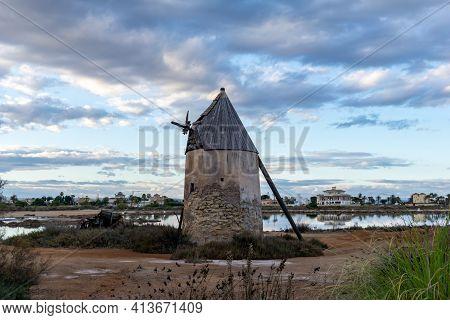 An Old Historic Windmill In La Manga Del Mar Menor In Murcia