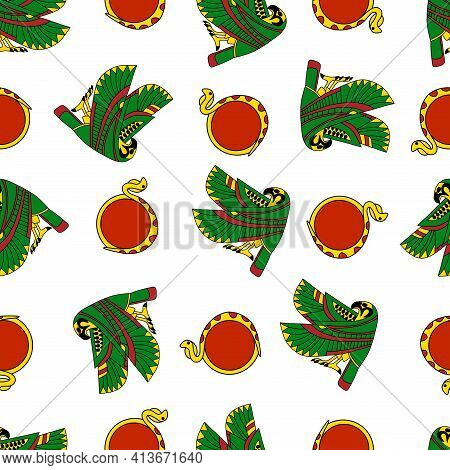 Colorful Falcon And Sun-disk Cobra Seamless Pattern Vector. Ancient Egypt Cultural And Religion Symb