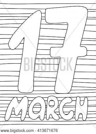 17 March Simple Coloring Page For Children Stock Vector Illustration. Happy Saint Patrick's Day Vert