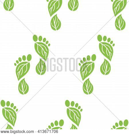 Seamless Pattern Of Carbon Footprint Icons. Co2 Ecological Footprint Symbols With Green Leaves. Gree