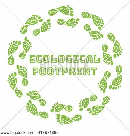 Carbon Footprint Circle Wreath. Co2 Ecological Footprint Symbols With Green Leaves. Greenhouse Gas E