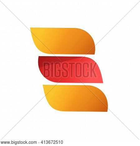 Abstract Orange Red Color Logo With 3 Gradient Elegance Leaves Elements Vector Logotype Template Des
