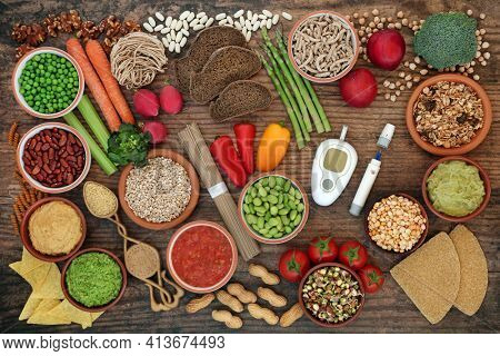Low glycemic vegan diet food for diabetics below 55 on the GI index with testing and lancing devices. High in antioxidants, anthocyanins, vitamins, minerals, protein, fibre, omega and smart carbs.