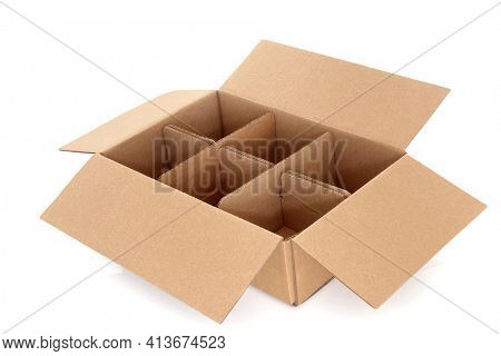 Cardboard box with six compartments for packaging for delivery on white background.