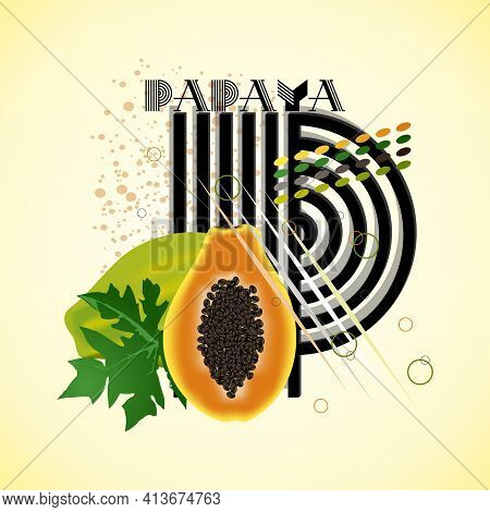 The Letter P And Papaya On A Bright Abstract Background