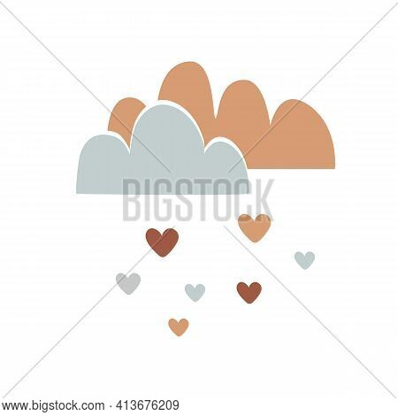 Nursery Art With Cute Clouds And Hearts Rain. Nursery Or Valentines Concept, Vector Illustration