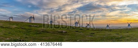A Panorama View Of The Historic White Windmills Of La Mancha Above The Town Of Campo De Criptana At