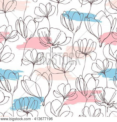 Flowers Line Art Hand Draw Vector Seamless Pattern. Seamless Hand Draw Vector Pattern. Background Wi