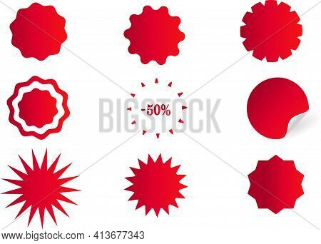 Sticker, Label With A Price Tag. Set Of Round Red Starburst Icons. Round Form. Product Marking. Zigz