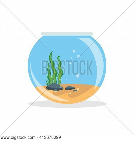 Empty Fishbowl With Water Isolated On White Background. Fishbowl Aquarium In Flat Style. Vector Stoc