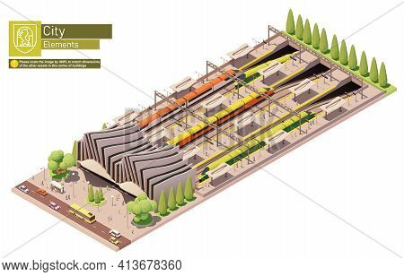 Vector Isometric High Speed Train Station And Bus Stop