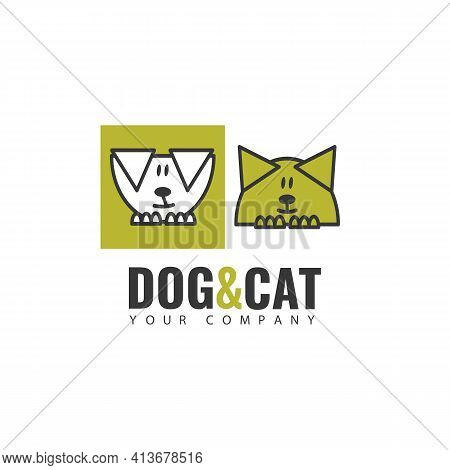 Logo Template. The Logo Of The Image Of A Dog And A Cat, Suitable For Business That Is Associated Wi