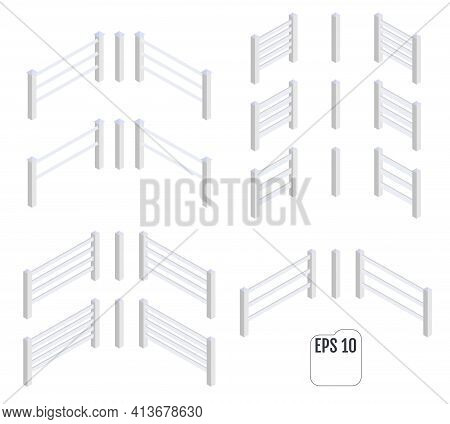 Isometric White Fence Sections. Fencing Constructor. Support Posts And Fence Sections Set
