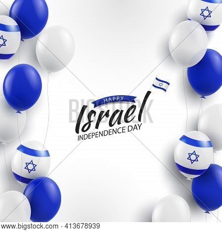 Vector Illustration Of Independence Day Of Israel. Background With Balloons