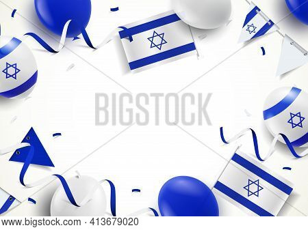 Vector Illustration Of Israel Holiday. Background With Balloons, Flags