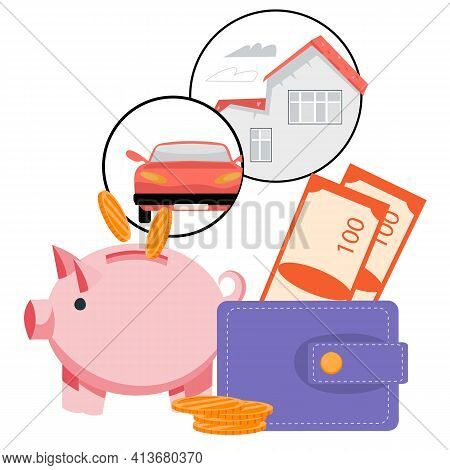 Piggy Bank With Falling Coins And Wallet. Symbol Of Money Savings, Bank Deposit, Credit Or Mortgage,