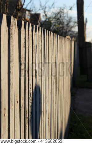 A Fence Made Of Roughly Processed Boards. A Palisade Of Rough Logs. Sun Rays, Sunny Day