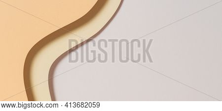 Abstract Geometric Paper Texture Banner Background. Beige Yellow White Waves And Curved Lines Paperc