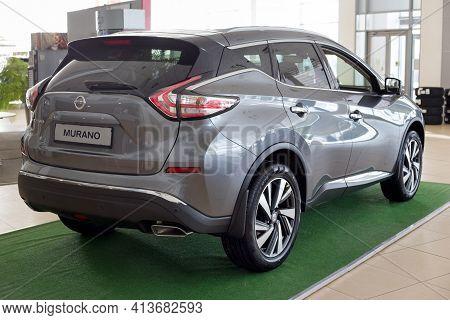 Russia, Izhevsk - February 19, 2021: New Modern Murano Car In The Nissan Showroom. Back And Side Vie