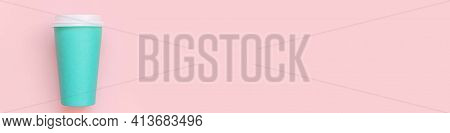 Simply Flat Lay Design Blue Paper Coffee Cup On Pink Pastel Colorful Background. Takeaway Drink Cont