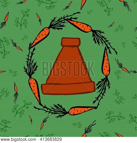 Moroccan Traditional Pottery For Cooking Called Tagine In A Circle Of Carrots. Background, Seamless