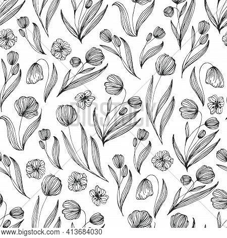 Tulip Black Line Vector Seamless Pattern. Tulip Seamless Pattern Vector Background. Decorative Seaml
