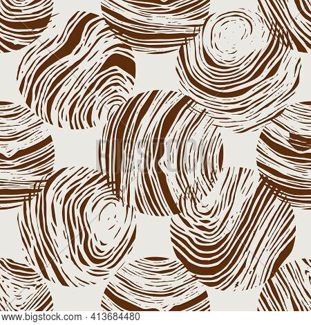 Abstract Concentric Circles Vector Seamless Pattern. Monochrome Seamless Texture Vector Abstract Con