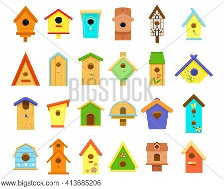 Wooden Multicolored Birdhouses Of Various Shapes Isolated On White Background. Birdhouse, Bird Feede