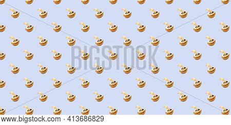 Seamless Background With Champignons On Blue. Champignon Pattern