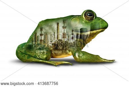 Habitat Pollution Concept And Environmental Damage Or Climate Change Urgency Idea As A Green Frog In