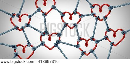 Love Network Together And Unity Or Loving Partnership And Concept Of Team And Teamwork Idea As A Met