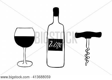 Doodle Style Wine Set Illustration In Vector Format Including Bottle, Glass, Corkscrew, And Cork. Bo