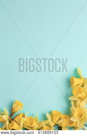 Frame Of Yellow Flowers On A Blue Background. Beautiful Spring Flowers Of Daffodils. Simple Holiday