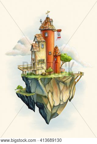 Fantasy tower standing on a rock floating in the sky. Ink and colored pencil illustration on paper.