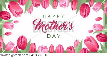 Happy Mothers Day Banner. Vector Greeting Card For Social Media, Online Stores, Poster. Text Of Happ
